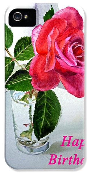 Happy Birthday Card Rose  IPhone 5 Case