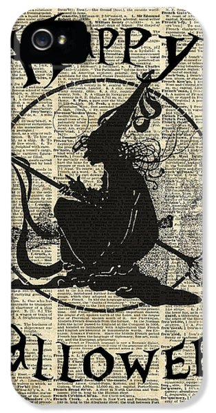 Happy Halloween Witch With Broom Dictionary Artwork IPhone 5 Case
