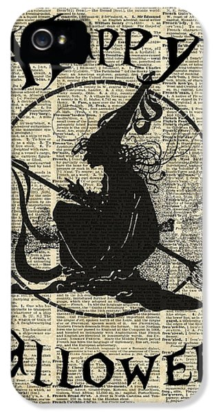 Happy Halloween Witch With Broom Dictionary Artwork IPhone 5 Case by Jacob Kuch