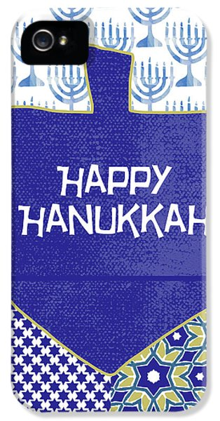 Happy Hanukkah Dreidel 1- Art By Linda Woods IPhone 5 Case by Linda Woods