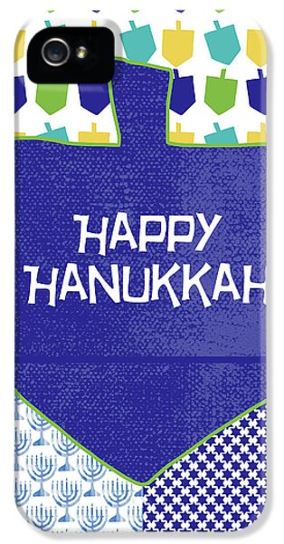 Happy Hanukkah Dreidel 2- Art By Linda Woods IPhone 5 Case by Linda Woods