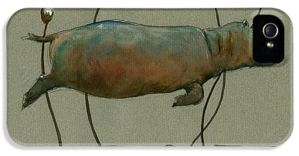 Happy Hippo Swimming IPhone 5 Case by Juan  Bosco