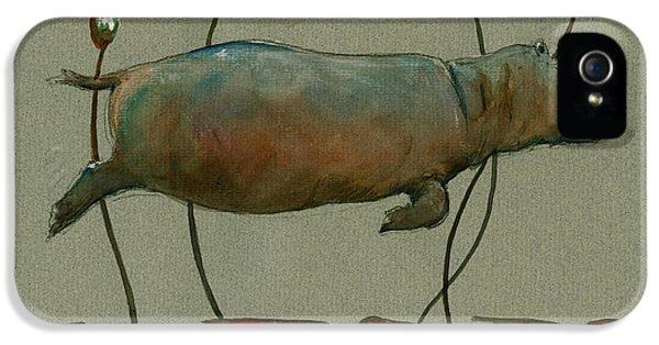 Happy Hippo Swimming IPhone 5 Case by Juan  Bosco