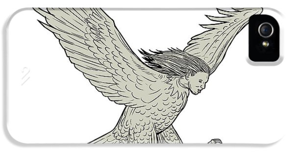 Harpy Eagle iPhone 5 Case - Harpy Swooping Drawing  by Aloysius Patrimonio