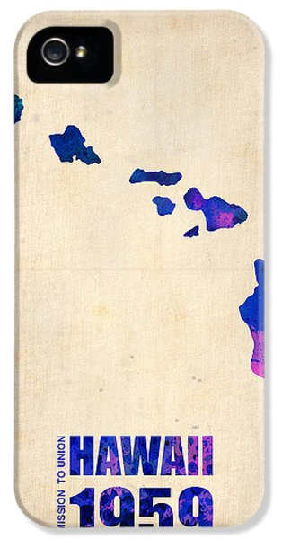 Hawaii Watercolor Map IPhone 5 Case by Naxart Studio