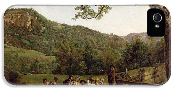 Haymakers Picnicking In A Field IPhone 5 Case by Jean Louis De Marne