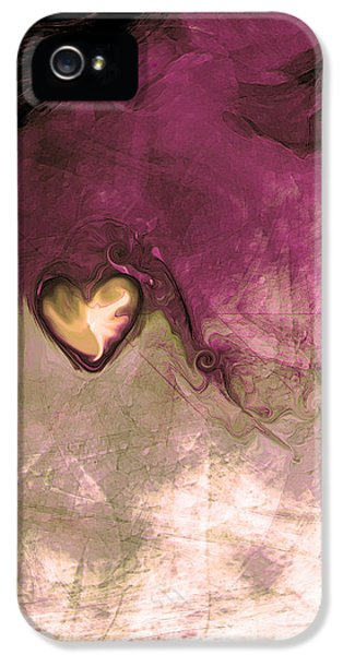 Energy iPhone 5 Cases - Heart Of Gold iPhone 5 Case by Linda Sannuti