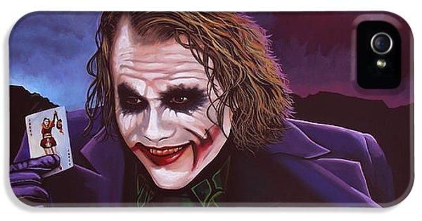 Heath Ledger As The Joker Painting IPhone 5 / 5s Case by Paul Meijering