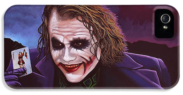 Knight iPhone 5 Case - Heath Ledger As The Joker Painting by Paul Meijering