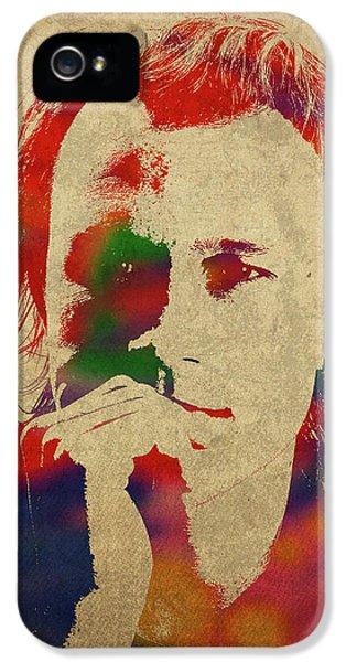 Heath Ledger Watercolor Portrait IPhone 5 Case