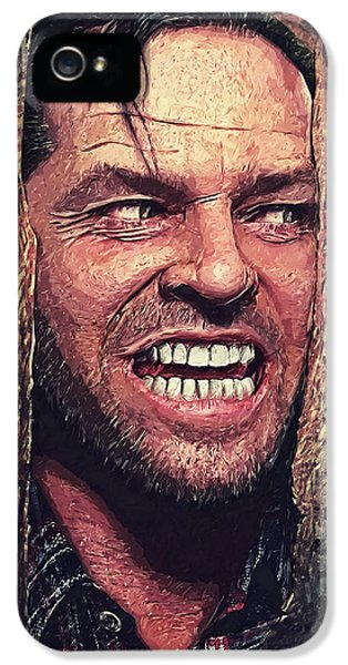 Jack Nicholson iPhone 5 Case - Here's Johnny - The Shining  by Taylan Apukovska