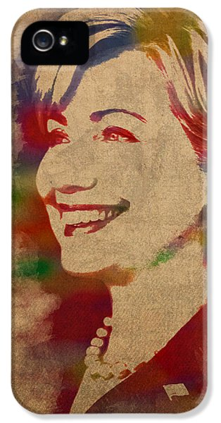 Hillary Rodham Clinton Watercolor Portrait IPhone 5 Case by Design Turnpike