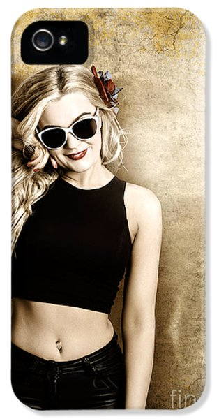 Hip Blond Fashion Model On Grunge Wall IPhone 5 Case