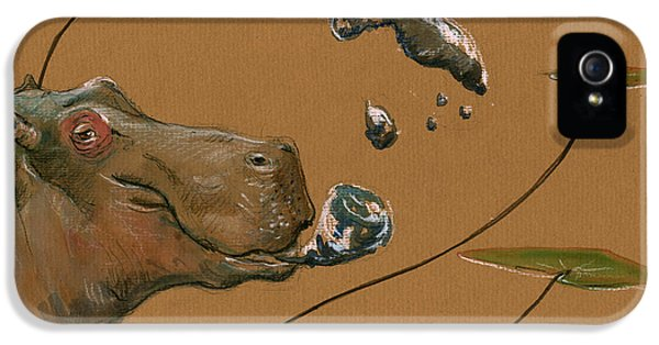 Hippo Bubbles IPhone 5 Case by Juan  Bosco