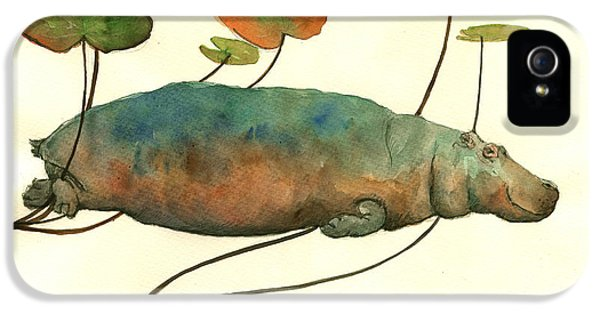 Hippo Swimming With Water Lilies IPhone 5 Case by Juan  Bosco