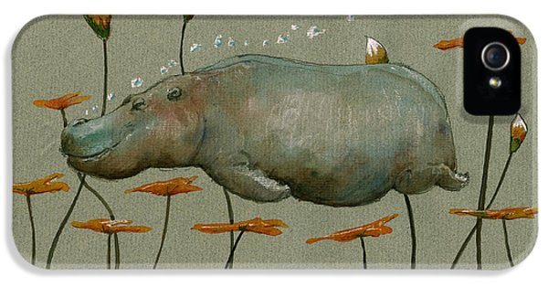 Hippo Underwater IPhone 5 Case by Juan  Bosco