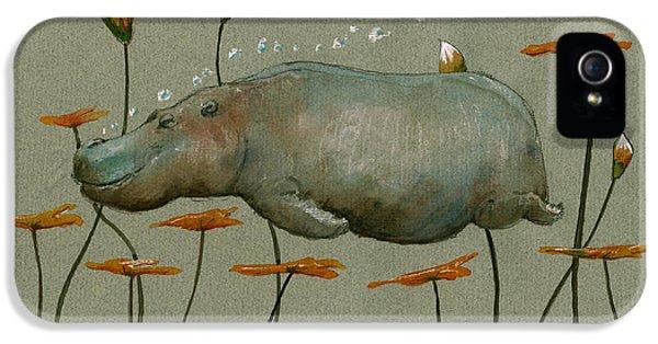 Hippo Underwater IPhone 5 Case by Juan  Bosco