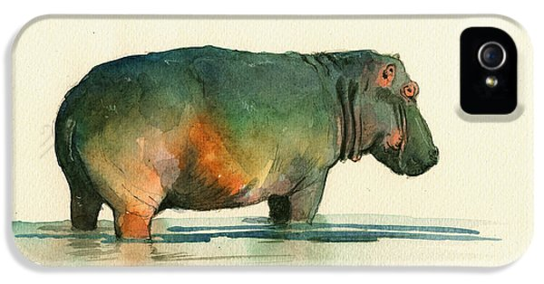 Hippo Watercolor Painting IPhone 5 Case by Juan  Bosco