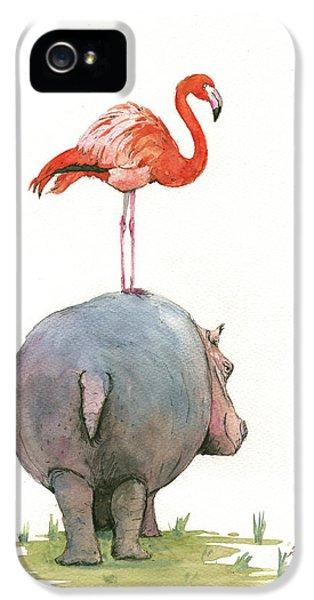 Birds iPhone 5 Case - Hippo With Flamingo by Juan Bosco