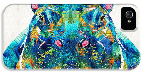 Hippopotamus Art - Happy Hippo - By Sharon Cummings IPhone 5 Case by Sharon Cummings