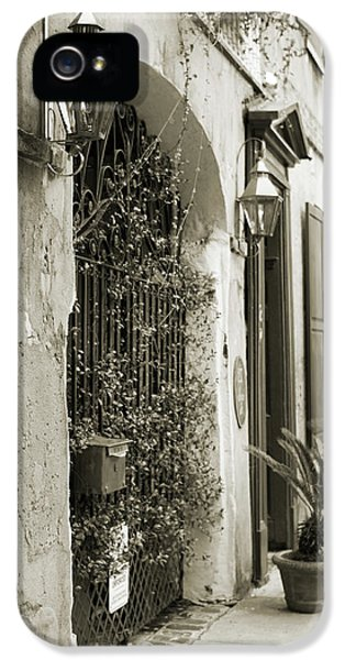 Historic Home Wrought Iron Gate Charleston Sepia IPhone 5 Case by Dustin K Ryan