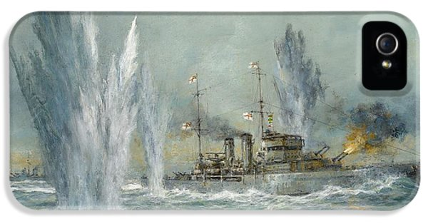 Hms Exeter Engaging In The Graf Spree At The Battle Of The River Plate IPhone 5 Case by Richard Willis