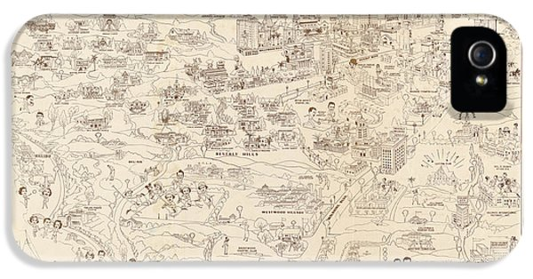 Hollywood Map To The Stars 1937 IPhone 5 Case by Don Boggs