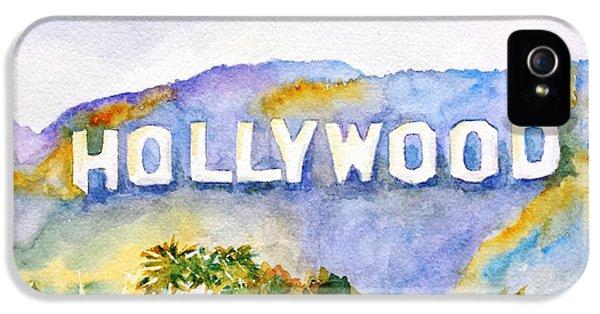 Los Angeles iPhone 5 Case - Hollywood Sign California by Carlin Blahnik CarlinArtWatercolor