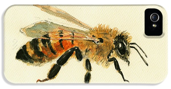 Honey Bee Painting IPhone 5 Case by Juan  Bosco