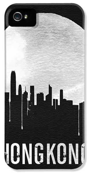 Moon iPhone 5 Case - Hong Kong Skyline Black by Naxart Studio