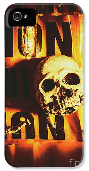 Horror Skulls And Warning Tape IPhone 5 Case by Jorgo Photography - Wall Art Gallery