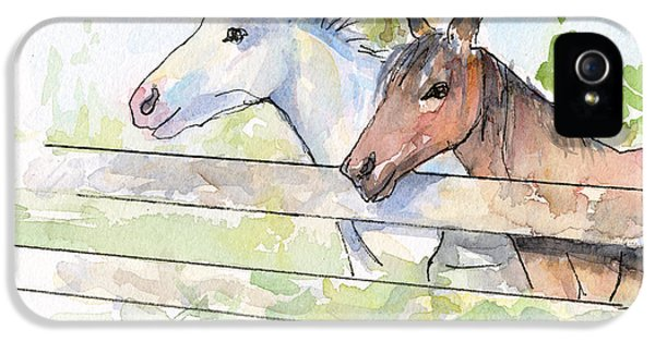 Horse iPhone 5 Case - Horses Watercolor Sketch by Olga Shvartsur