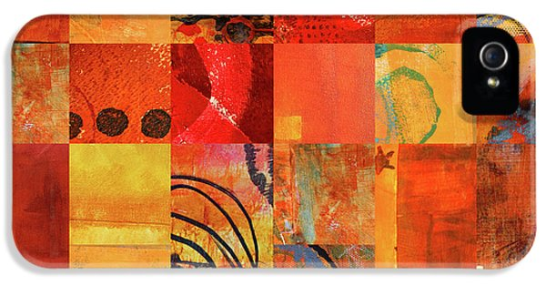 IPhone 5 Case featuring the painting Hot Color Play by Nancy Merkle