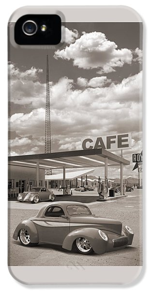 Hot Rods At Roy's Gas Station Sepia IPhone 5 Case by Mike McGlothlen
