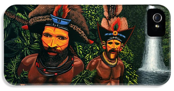 Huli Men In The Jungle Of Papua New Guinea IPhone 5 Case by Paul Meijering