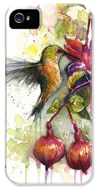 Hummingbird And Fuchsia IPhone 5 Case by Olga Shvartsur