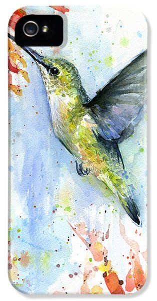 Hummingbird iPhone 5 Case - Hummingbird And Red Flower Watercolor by Olga Shvartsur