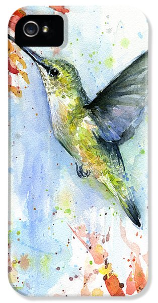 Hummingbird And Red Flower Watercolor IPhone 5 Case by Olga Shvartsur