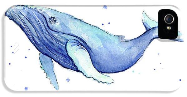 Humpback Whale Watercolor IPhone 5 Case by Olga Shvartsur