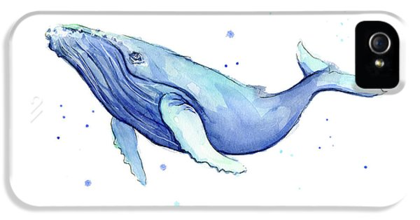Humpback Whale Watercolor IPhone 5 Case by Olga Shvartsur