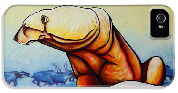 Hunger Burns - Polar Bear And Caribou IPhone 5 Case by Joe  Triano