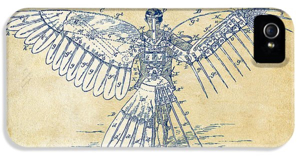 Icarus Human Flight Patent Artwork - Vintage IPhone 5 Case by Nikki Smith