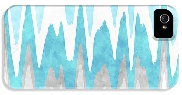 IPhone 5 Case featuring the mixed media Ice Blue Abstract by Christina Rollo