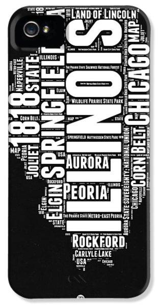 University Of Illinois iPhone 5 Case - Illinois Black And White Word Cloud Map  by Naxart Studio