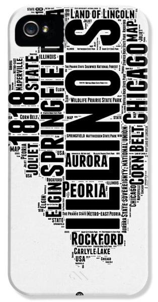 University Of Illinois iPhone 5 Case - Illinois Word Cloud Map 2 by Naxart Studio