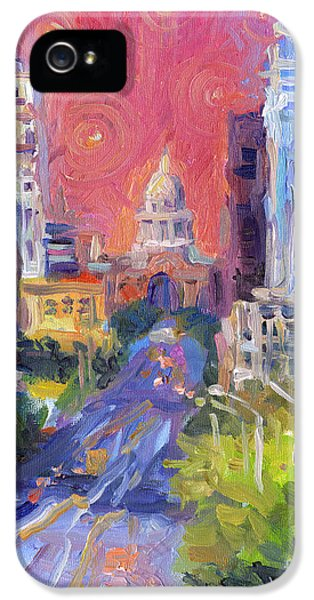 Impressionistic Downtown Austin City Painting IPhone 5 Case