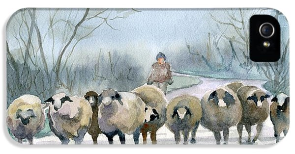 Sheep iPhone 5 Case - In The Morning Mist by Marsha Elliott