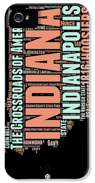 Indiana Word Cloud Map 1 IPhone 5 Case by Naxart Studio