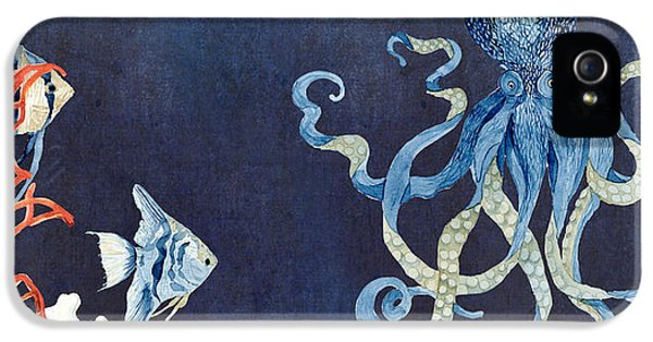 Indigo Ocean - Floating Octopus IPhone 5 Case by Audrey Jeanne Roberts