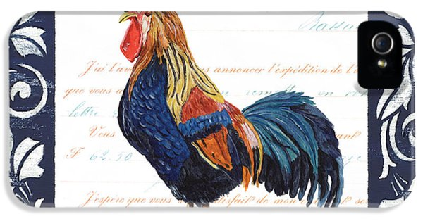 Chicken iPhone 5 Case - Indigo Rooster 2 by Debbie DeWitt